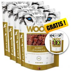 WOOLF Rabbit Chunkies 5 x 100g, 4+1 GRATIS