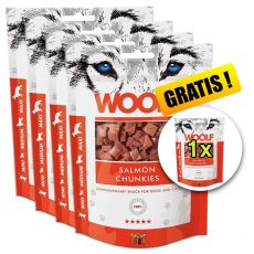 WOOLF Salmon Chunkies 5 x 100g, 4+1 GRATIS