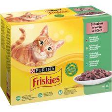 Kapsičky Friskies Cat hovädzie, kura, tuniak a treska v šťave 12 x 85 g
