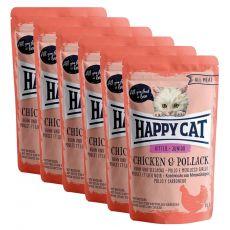 Kapsička Happy Cat ALL MEAT Kitten Junior Chicken & Pollack 6 x 85 g