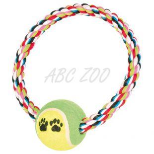 Bavlnený povraz v tvare kruhu s tenisovou loptičkou - 18cm