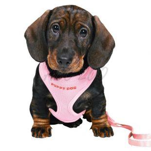Postroj a vodítko pre psíkov - ružový