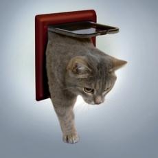 Dvierka pre mačky s dvoma polohami - hnedé