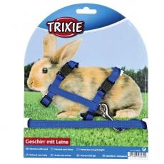 Postroj a vodítko pre zajace - plastové zapínanie, modrá