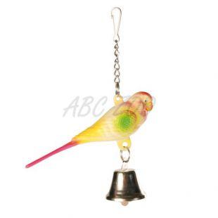 Hračka pre vtáčiky - andulka so zvončekom - 9 cm