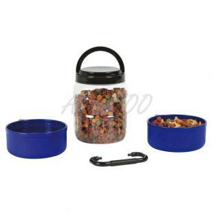 Prenosný box na granule s dvoma miskami 750 ml