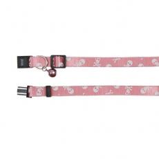 Obojok pre mačky, ružový - lebky - 15 - 20 cm
