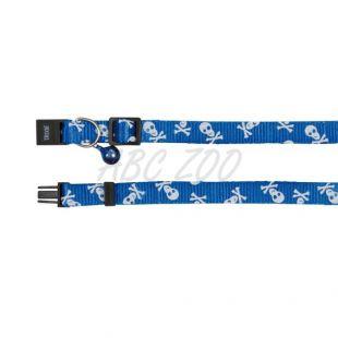 Obojok pre mačky, modrý - lebky - 15 - 20 cm