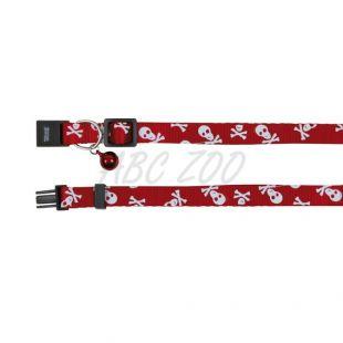 Obojok pre mačky, červený - lebky - 15 - 20 cm