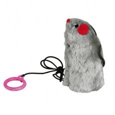 Hračka pre mačku - myš na gumičke, so zvukom, 9 cm