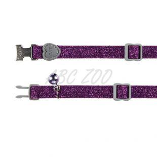 Obojok pre mačky, fialové trblietky - 18 - 30 cm