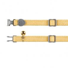 Obojok pre mačky, žlté trblietky, 18 - 30 cm