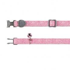 Obojok pre mačky, ružové trblietky- 18 - 30 cm