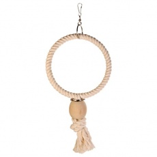 Hračka pre vtáky - kruh z lana, korálka, 24 cm