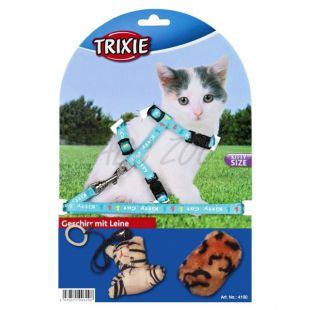 Postroj s vodítkom a hračkami pre mačky - modrý