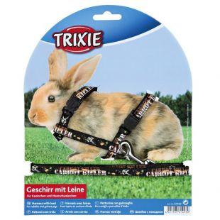 Postroj s vodítkom pre zajace - čierny