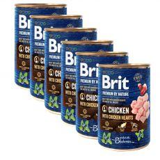 Konzerva Brit premium by Nature Chicken & Hearts 6 x 400 g