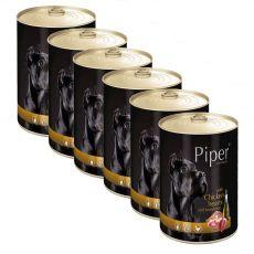 Konzerva Piper Adult s kuracími srdciami a hnedou ryžou 6 x 400 g