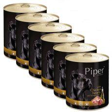 Konzerva Piper Adult s kuracími srdciami a hnedou ryžou 6 x 800 g