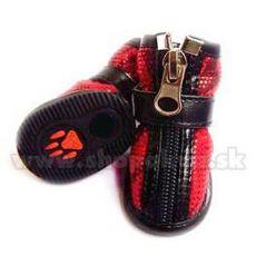 Topánky pre psy semišové - červené (4ks) - veľ.3