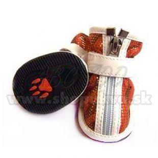 Topánky pre psy semišové - oranžové (4ks) - veľ.3