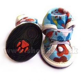Topánky pre psov arabské látkové - modré (4ks) - veľ.4
