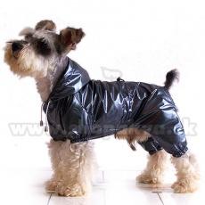 Pršiplášť pre psa dvojvrstvový - sivočierny XS