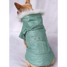 Kabátik pre psy s vreckom - zelený, XS