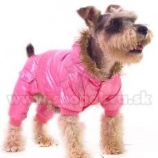 Overal na zimu s kapucňou pre psíka - ružový, XS