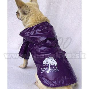 Pršiplášť pre psy - fialový, dáždnik, XS