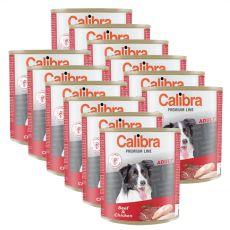 Konzerva CALIBRA Premium Adult - hovädzie a kura, 12 x 800 g