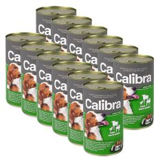 Konzerva Calibra Dog Adult jahňa, hovädzie a kura v želé, 12 x 1240g