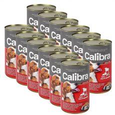 Konzerva Calibra Dog Adult hovädzie, pečeň a zelenina v želé, 12 x 1240g