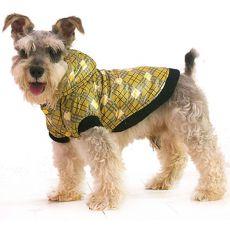 Bunda pre psa - károvaná, žltá, XS
