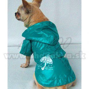 Pršiplášť pre psíka - tyrkysovo zelený, dáždnik, XS