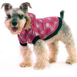 Bunda pre psa - károvaná, ružová, XS