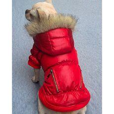 Vetrovka pre psa - pérová, červená, zips, XS