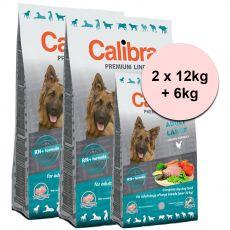 CALIBRA Dog Premium Line ADULT LARGE 2 x 12kg + 6kg
