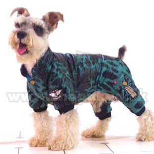 Overal pre psíka - leopard, zelenočierny, S