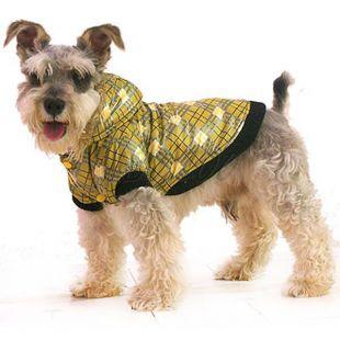Bunda pre psa - károvaná, žltá, M
