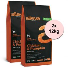 Alleva NATURAL dog chicken & pumpkin adult medium 2 x 12 kg