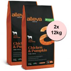 Alleva NATURAL dog chicken & pumpkin adult maxi 2 x 12 kg