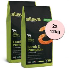 Alleva NATURAL dog lamb & pumpkin adult medium/maxi 2 x 12 kg