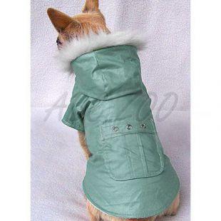 Kabátik pre psy s vreckom- zelený, S