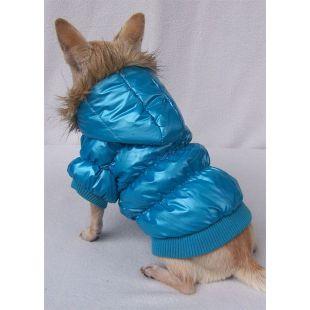 Vetrovka pre psa - pérová, modrá, S