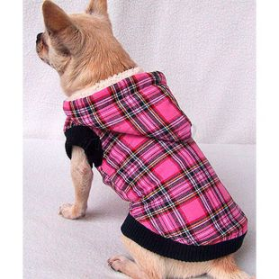 Zateplený kabátik s kapucňou pre psov - károvaný, ružový, L