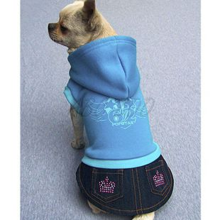 Mikina s riflovou sukničkou pre psa - modrá, L