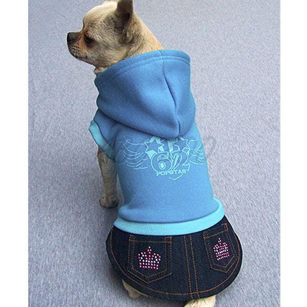 Mikina s riflovou sukničkou pre psa - modrá eb30e055221