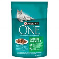 PURINA ONE INDOOR mini filetky s tuniakom a zelenými fazuľkami v šťave 85 g