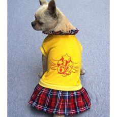 Svetrík so sukničkou pre psa - žltý, XL